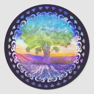 Tree of Life Love, Peace, Balance Round Sticker