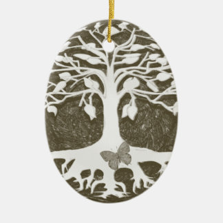 Tree of Life New Beginnings by Amelia Carrie Ceramic Oval Ornament