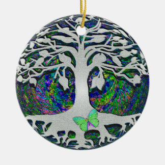 Tree of Life New Beginnings by Amelia Carrie Round Ceramic Ornament