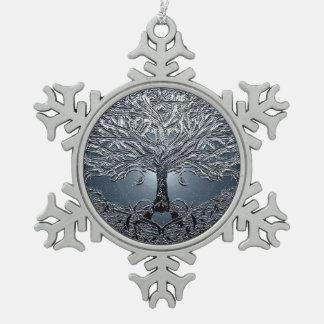 Tree of Life Nova Blue Snowflake Pewter Christmas Ornament