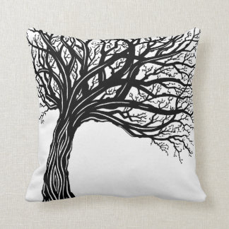 Tree of life pillow MOD graphic organic wind swept