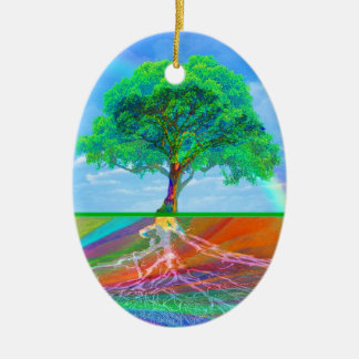 Tree of Life Rainbow Ceramic Ornament