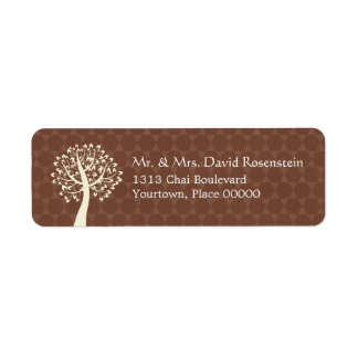 Tree of Life Star of David Pattern Bar-Bat Mitzvah Return Address Label