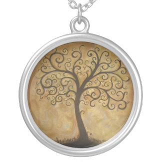 Tree of Life Subtitle Silver Plated Necklace