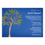 Tree of Life Swirls Blue Bar Mitzvah Invitations Custom Invitation