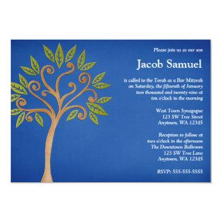 """Tree of Life Swirls Blue Bar Mitzvah Invitations 5"""" X 7"""" Invitation Card"""