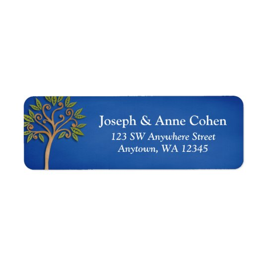 Tree of Life Swirls Blue Return Address