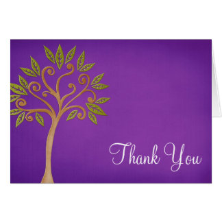 Tree of Life Swirls Purple Thank You Card