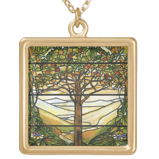 Tree of Life/Tiffany Stained Glass Window Gold Plated Necklace