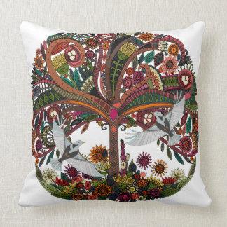 tree of life white throw pillow