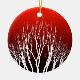 Tree of Life: White trees on Red Art Round Ceramic Ornament