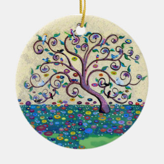Tree of life with birds ceramic ornament