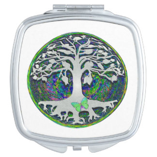 Tree of Life with Butterfly in Circle Mirror For Makeup