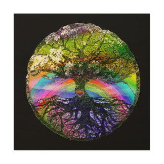 Tree of Life with Rainbow Heart Wood Prints