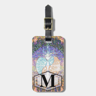 Tree of life with ying yang and heart symbol luggage tag