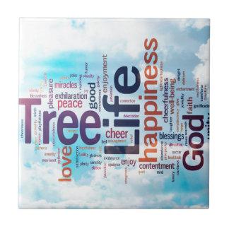 Tree of Life Word Cloud Ceramic Tiles