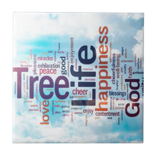 Tree of Life Word Cloud Tile