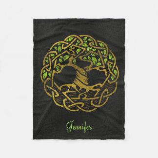 Tree of life  -Yggdrasil - Gold  with custom name Fleece Blanket
