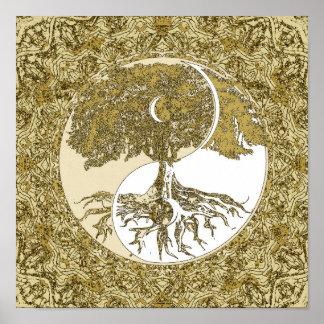 Tree of Life Yin Yang Gold Mandala Poster