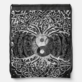 Tree of Life Yin Yang in Black and White Cinch Bag