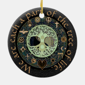 Tree of Life Yin Yang Peace Ceramic Ornament