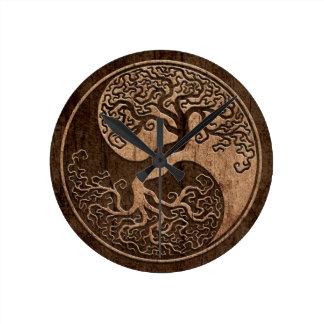 Tree of Life Yin Yang with Wood Grain Effect Clock