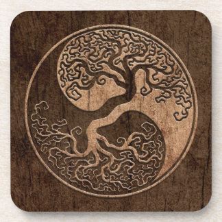 Tree of Life Yin Yang with Wood Grain Effect Coaster