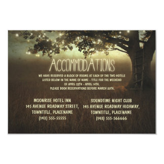 tree of lights rustic wedding accommodations card