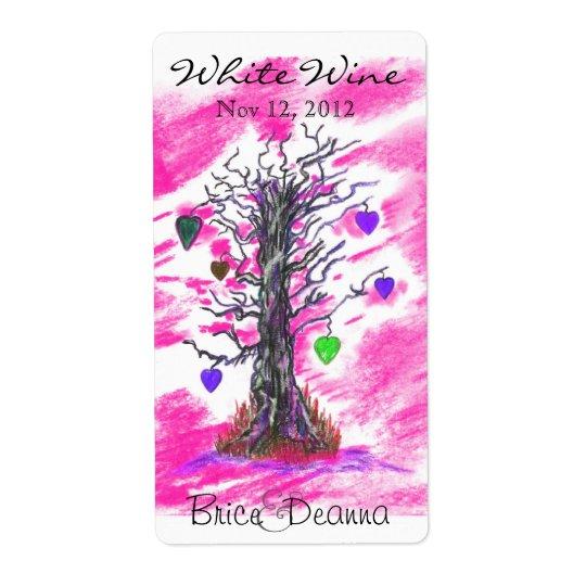 Tree of Love Pink Wedding Wine Label