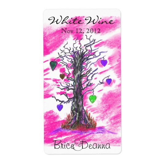 Tree of Love Pink Wedding Wine Label Shipping Label