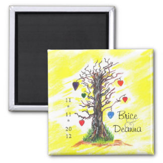 Tree of Love Yellow Save The Date Square Magnet