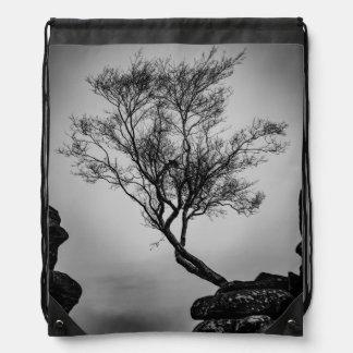 Tree on a Cliff Drawstring Bag