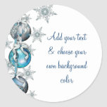 Tree Ornaments Blue Snowflakes Christmas Stickers
