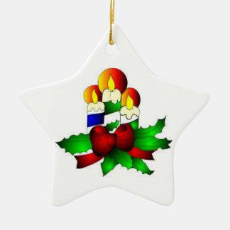 Tree Ornaments:  Candle star Ceramic Ornament