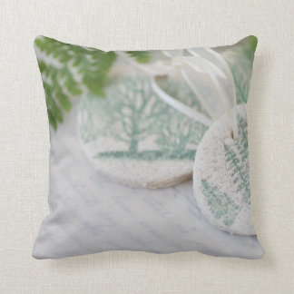 Tree ornaments on old handwriting throw pillow