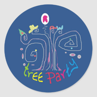 Tree Party Round Sticker