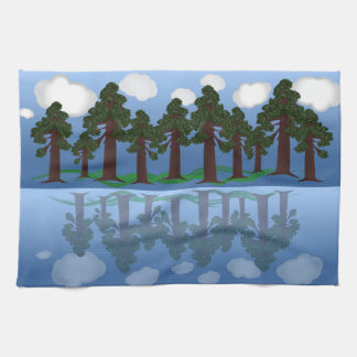 tree reflection kitchen towels