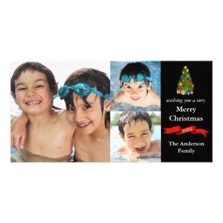 Tree/Ribbon 3 Photos Christmas - Photo Card