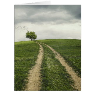 Tree road nature scenery card