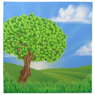 Tree Rolling Hills Landscape Background Cloth Napkins