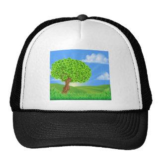 Tree Rolling Hills Landscape Background Trucker Hat