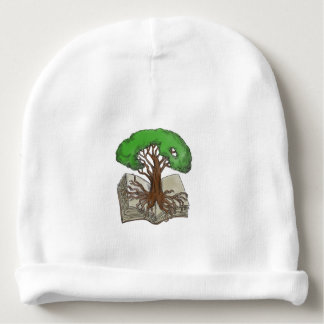 Tree Rooted on Book Tattoo Baby Beanie