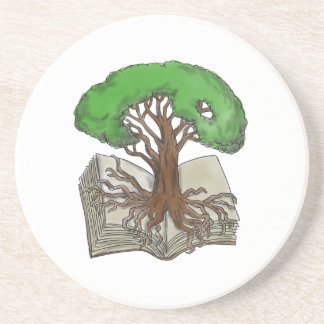 Tree Rooted on Book Tattoo Coaster
