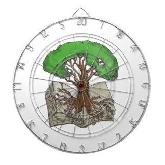 Tree Rooted on Book Tattoo Dartboard