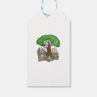 Tree Rooted on Book Tattoo Gift Tags