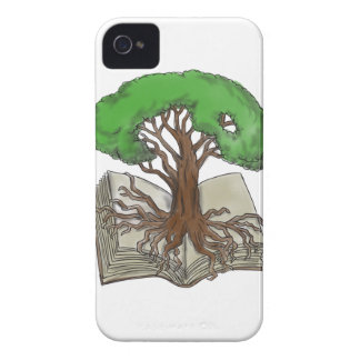 Tree Rooted on Book Tattoo iPhone 4 Cases