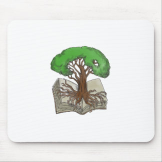 Tree Rooted on Book Tattoo Mouse Pad