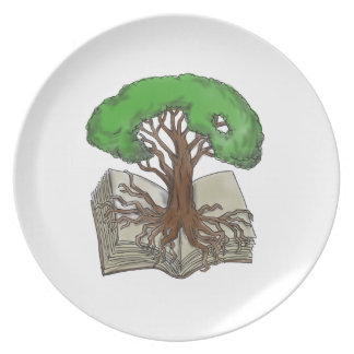 Tree Rooted on Book Tattoo Plate