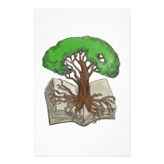 Tree Rooted on Book Tattoo Stationery
