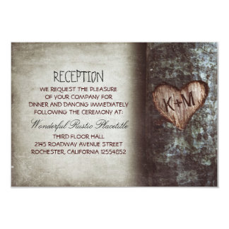 "tree rustic wedding reception & driving directions 3.5"" x 5"" invitation card"